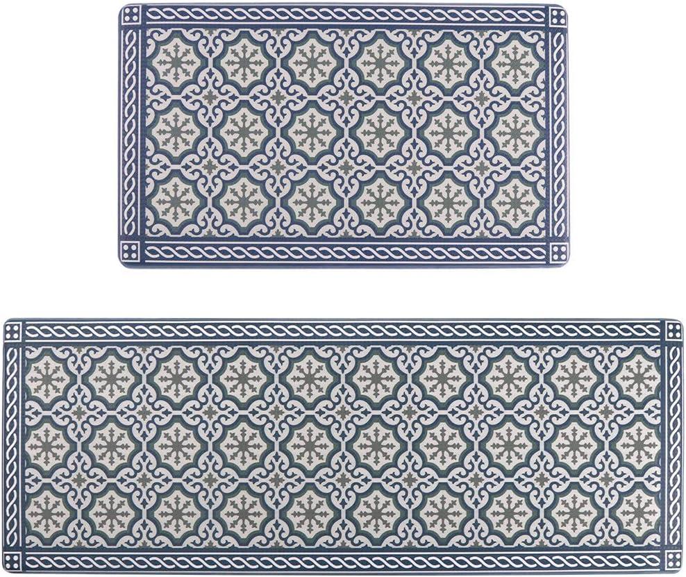 Seavish Anti Fatigue Kitchen Floor Comfort Mats Set, Blue Morocco Mosaic 2 Piece 17