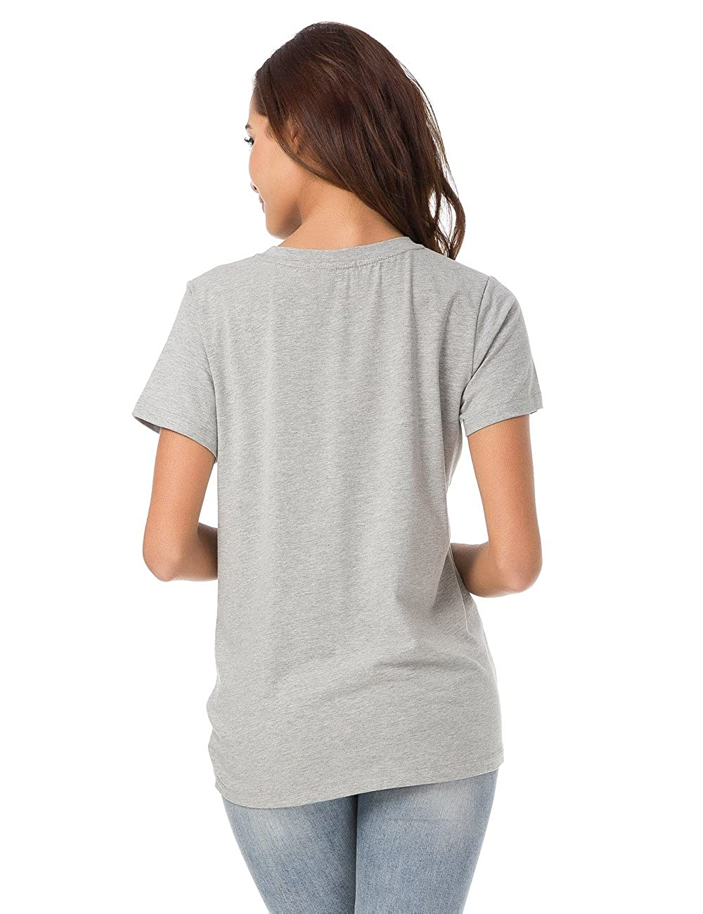 LUSMAY Womens Short Sleeve Loose Twist Knot Front T Shirts Cotton Casual Blouse