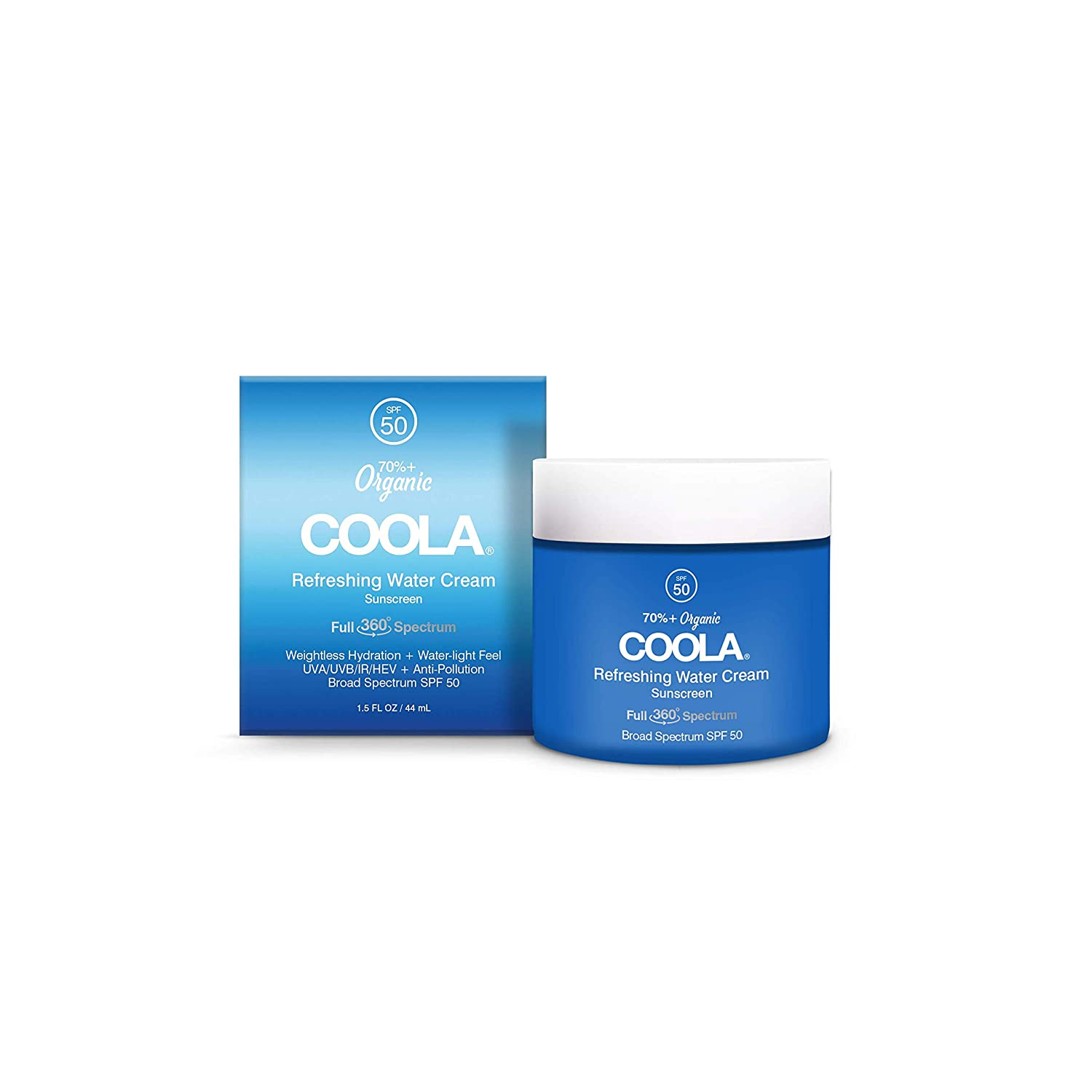 COOLA Organic Refreshing Water Cream Face Sunscreen, Full Spectrum Skin Care with Coconut & Aloe Water, Broad Spectrum SPF 50, Reef Safe, 1.5 Fl Oz