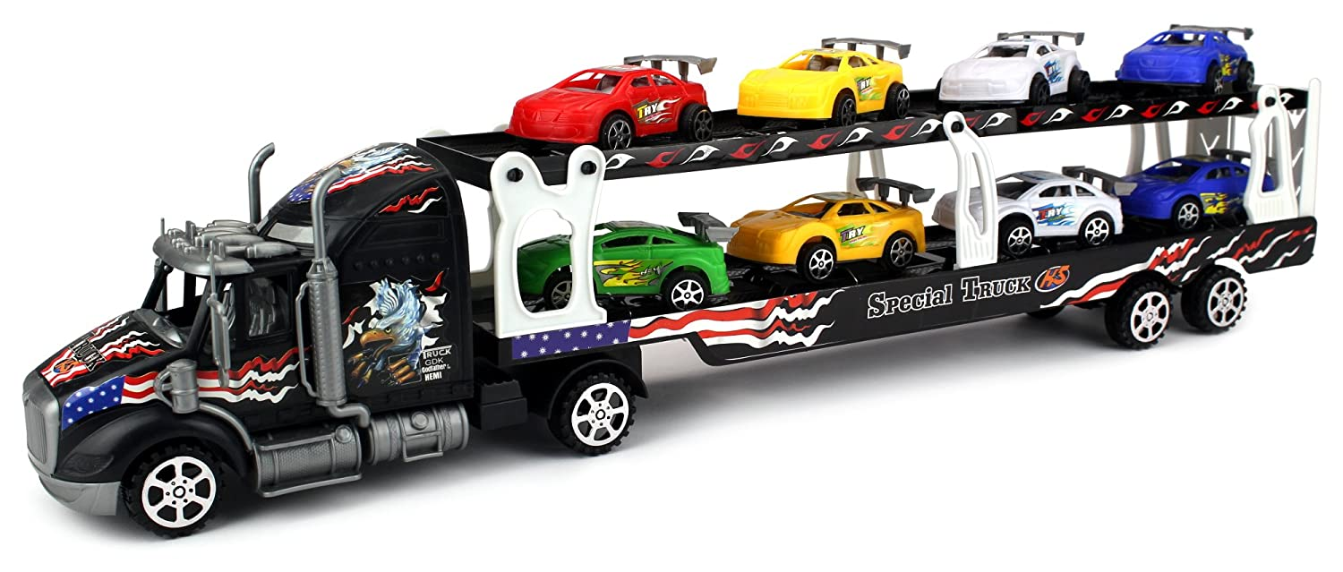 Motorsports Race Car Trailer 1:32 Children's Kid's Friction Toy Truck Ready To Run w/ 8 Toy Cars, No Batteries Required (Colours May Vary) B01C7P5H26