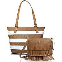 Mammon Women's Handbags and sling bag combo Beige