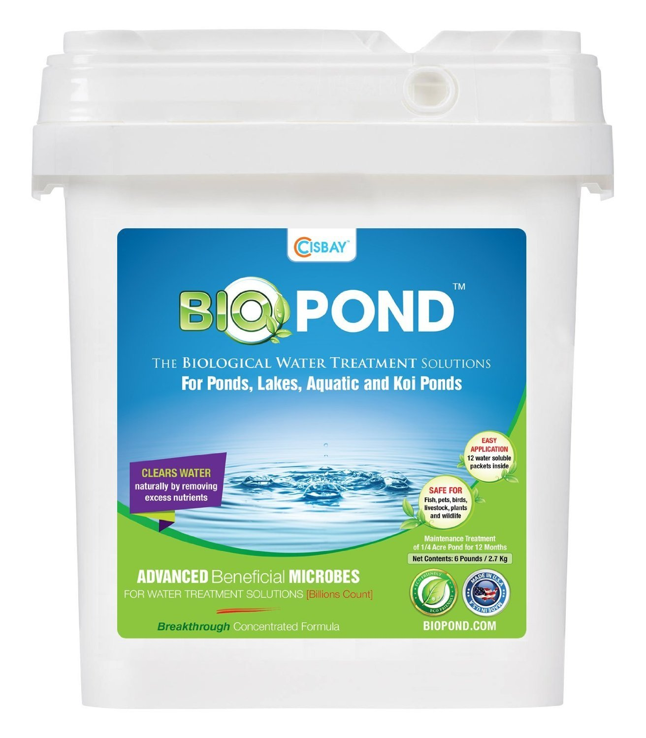 6 Pounds BIOPOND 12 Packets Natural and Biological Water Treatment Solutions for Ponds, Lakes, Aquatic, KOI Ponds- FAST RESULT