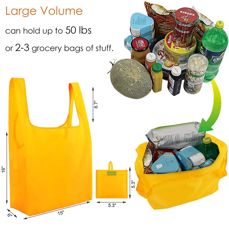 ee662e290 Bolsas de compras reutilizables plegables, 5 unidades, resistentes,  ecológicas, de poliéster, plegables en bolsa, ligeras y lavables a máquina  Yellow Mixed ...