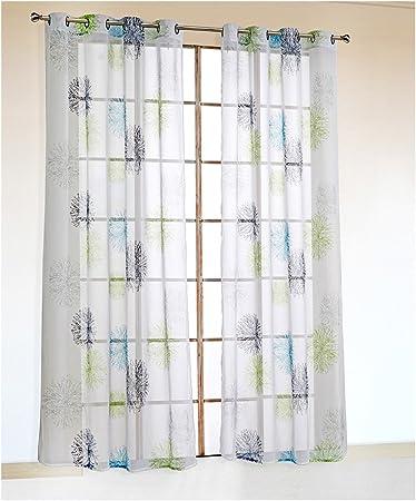 NECOHOME Voile Eyelets Cortina 2-Pack Tul Cortinas con Flores Motivo Transparente Ventana Bufanda Deco (Azul, 140x245cm): Amazon.es: Hogar