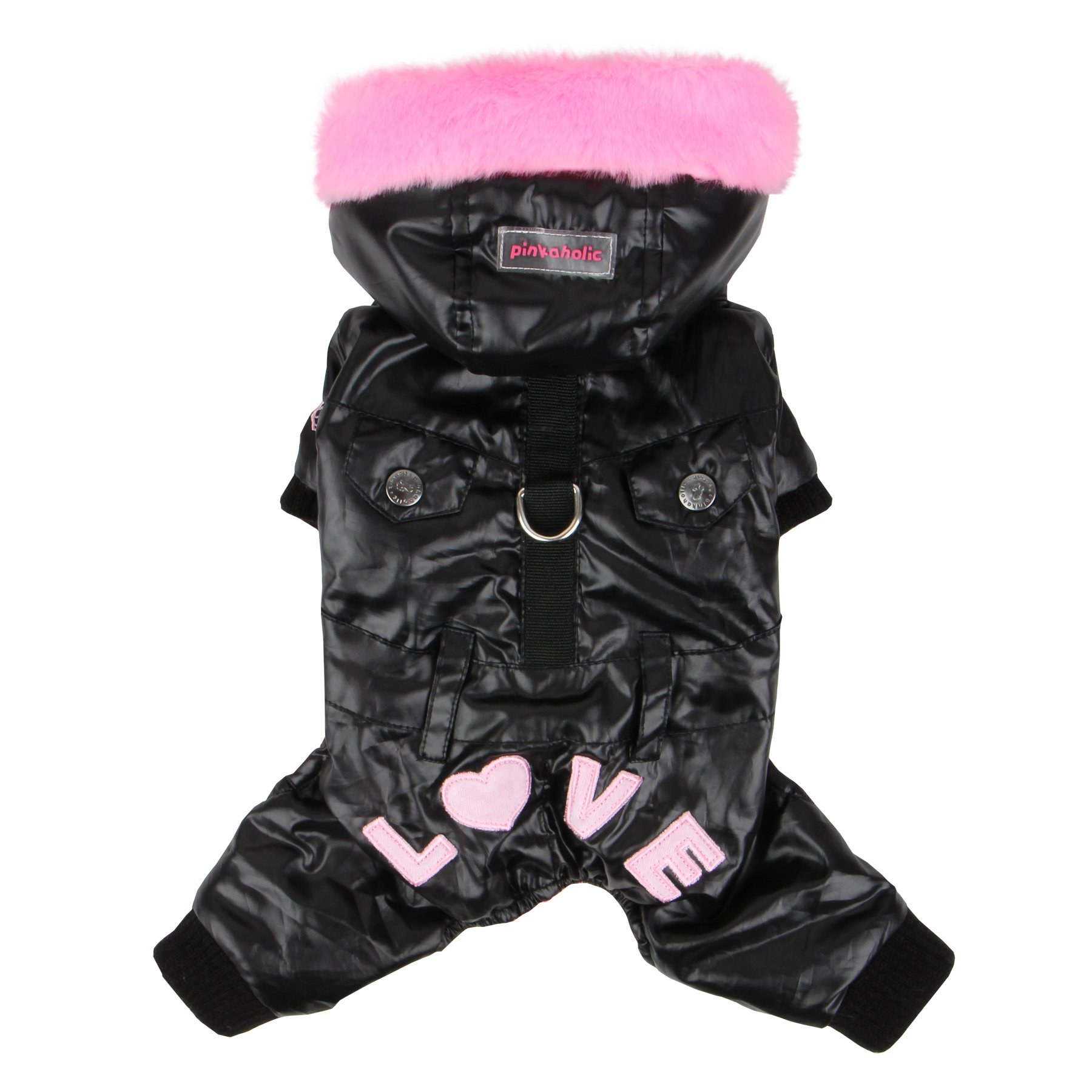 Pinkaholic New York Love Party Winter Jumpsuit for Dogs, Small, Black