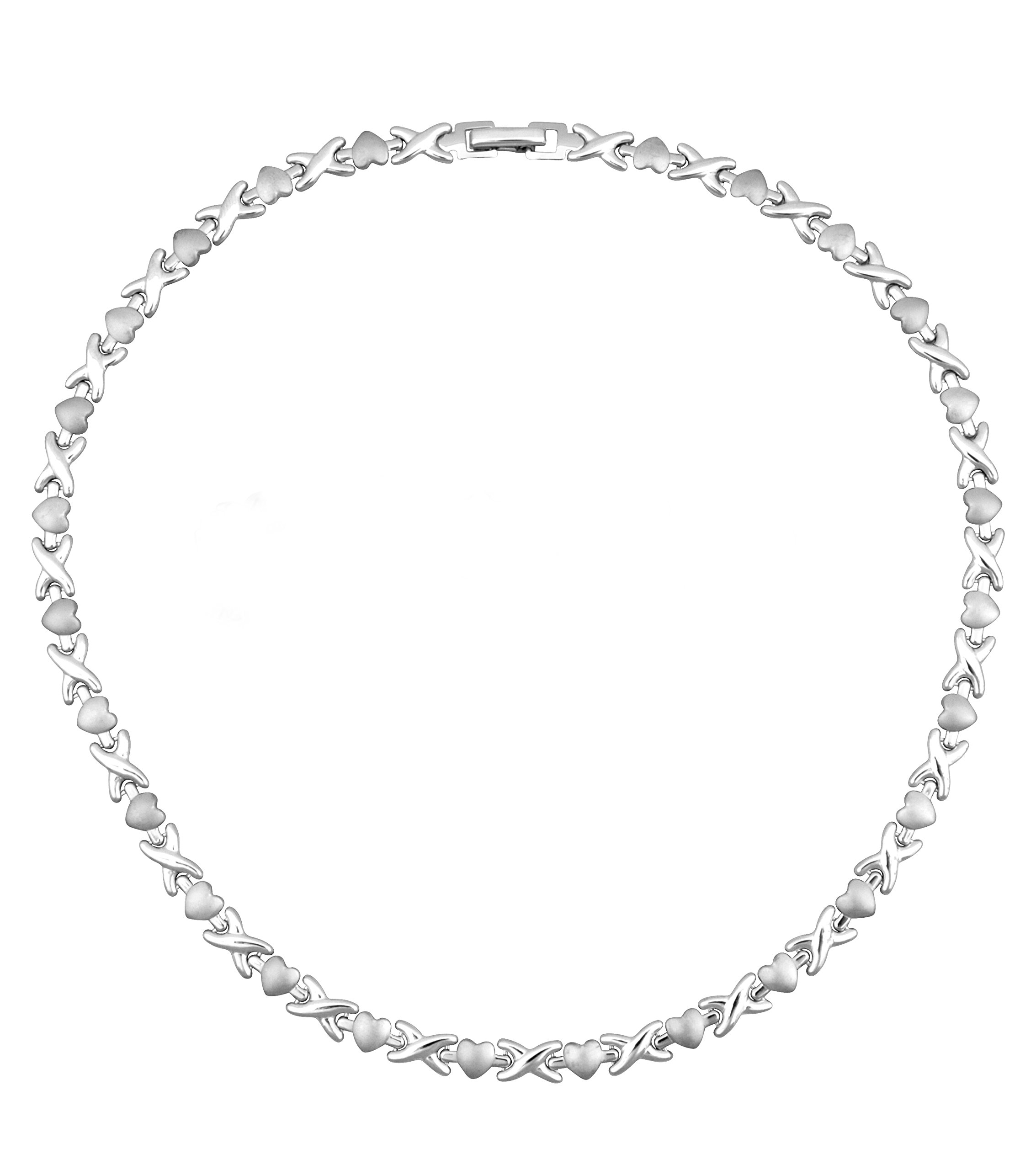 Womens Necklace Hearts Hugs & Kisses Necklace Silver Tone Necklace: 17.5''