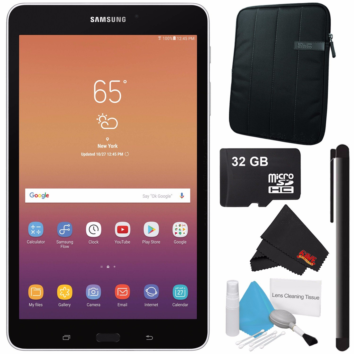 Samsung 8.0'' Galaxy Tab A 8.0 32GB Tablet (Wi-Fi Only, Silver) SM-T380NZSEXAR + Universal Stylus for Tablets + Tablet Neoprene Sleeve 10.1'' Case (Black) + 32GB Class 10 Micro SD Memory Card Bundle