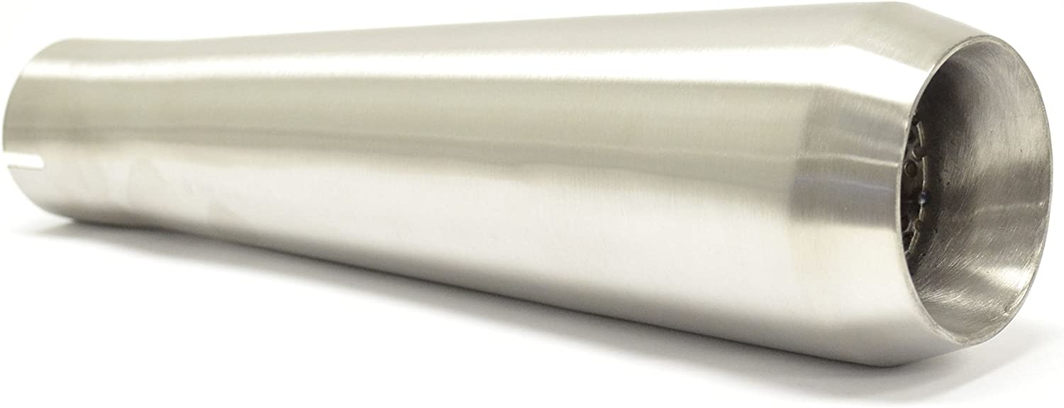 13 Big Mouth Reverse Cone Stainless Steel Muffler Megaphone Brushed 2.25 Inlet ID by Niche Cycle Supply