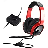 Amazon Basics Premium Gaming Headset for PC and Consoles (Xbox, PS4) with Desktop Mixer – Red