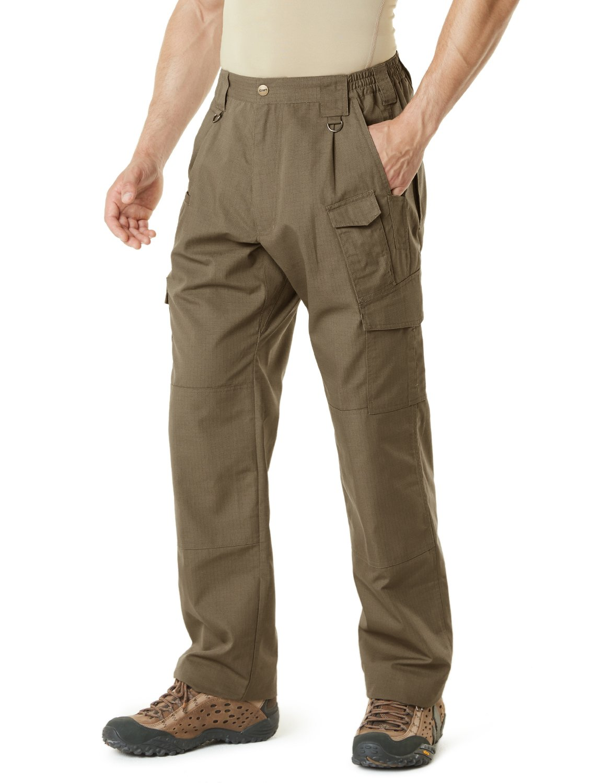 CQR Men's Tactical Pants Lightweight EDC Assault Cargo, Duratex Mag Pocket(tlp105) - Coyote, 34W/30L by CQR