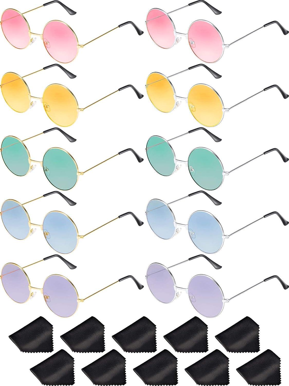 Blulu 10 Paia Occhiali da Sole Rotondo Anni '60 Occhiali da Sole Cerchio Occhiali Colorati