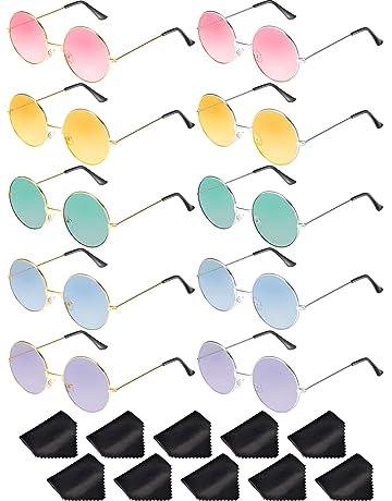 Blulu 10 Pares de Gafas de Sol de Hipis Redondas John de los Años de 1960 2a904851c71b