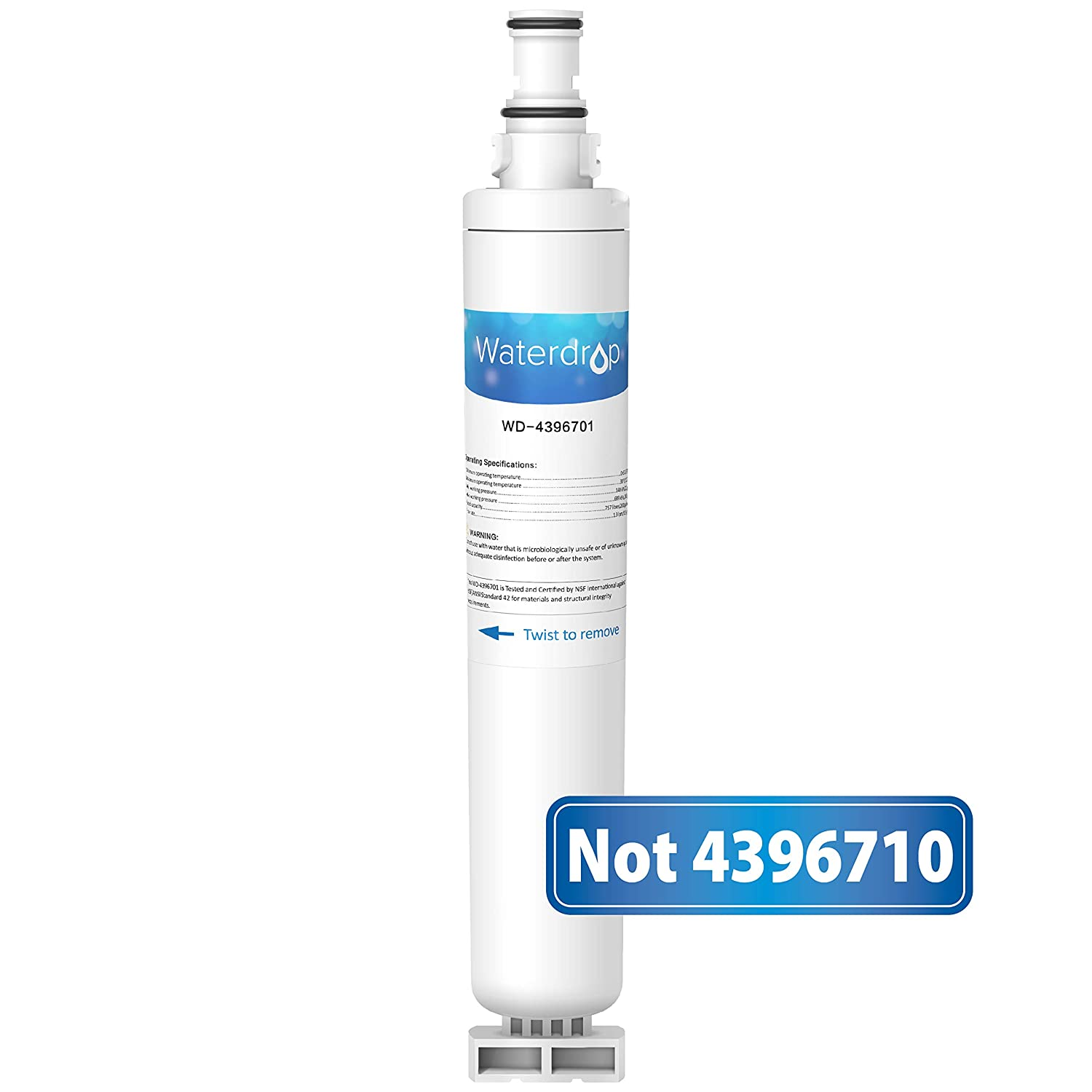 Waterdrop Refrigerator Water Filter, Compatible with Whirlpool 4396702, 4396701, EDR6D1, EveryDrop Filter 6, Kenmore 9915, 46-9915