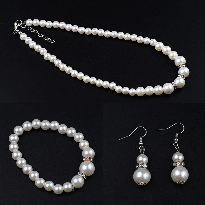 Finrezio Perla Artificial Collar de Cristal Collar Pendientes Pulsera Conjunto de Joyas para Mujeres la Boda Joyer/ía Nupcial