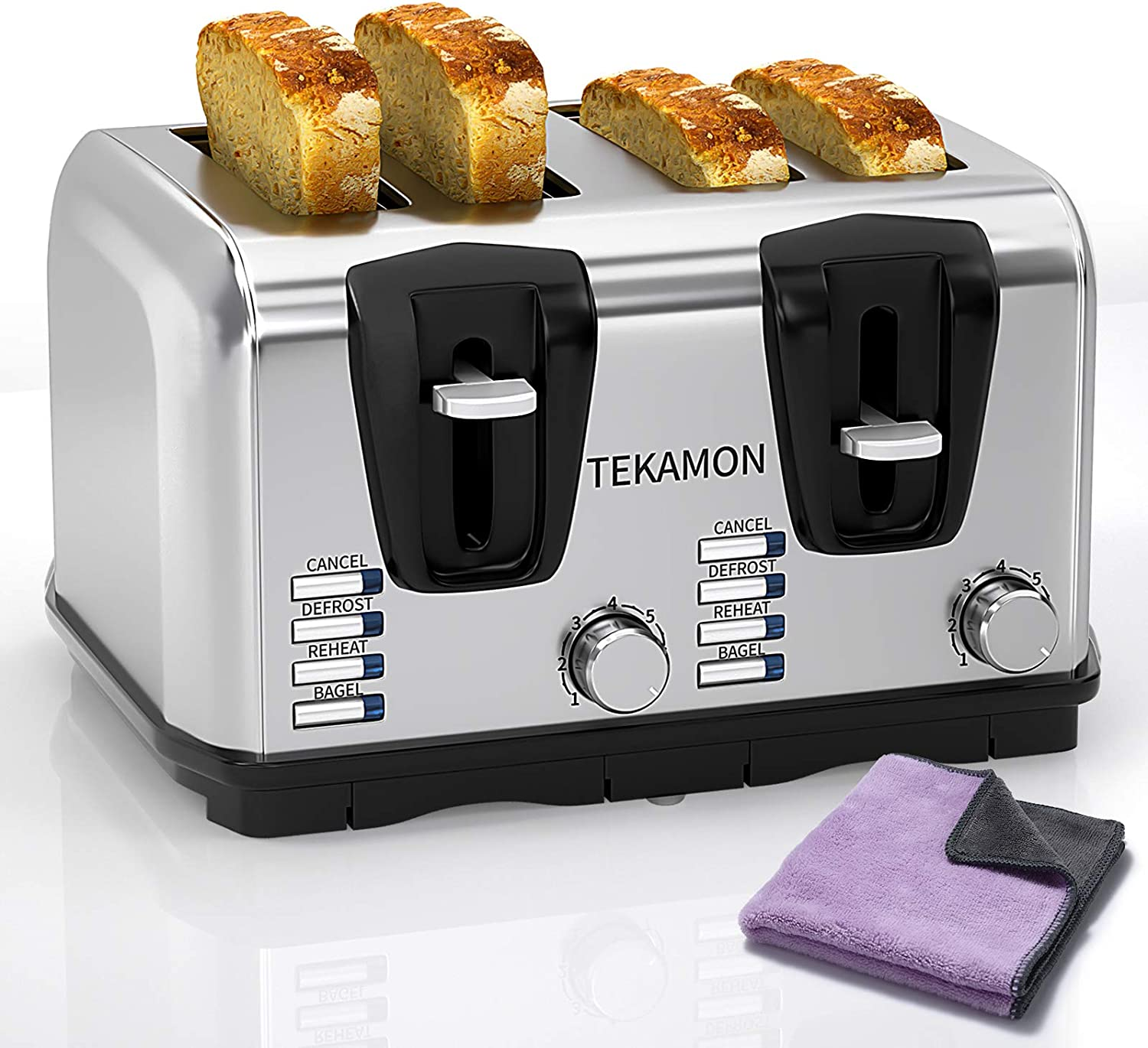 TEKAMON Toaster Slice 4 Classic Stainless Steel Toaster, Extra Wide Slots, 7 Bread Shade Settings, Bagel/Reheat/Defrost/Cancel Function, Removable Crumb Tray, Lavender Cleaning Cloth