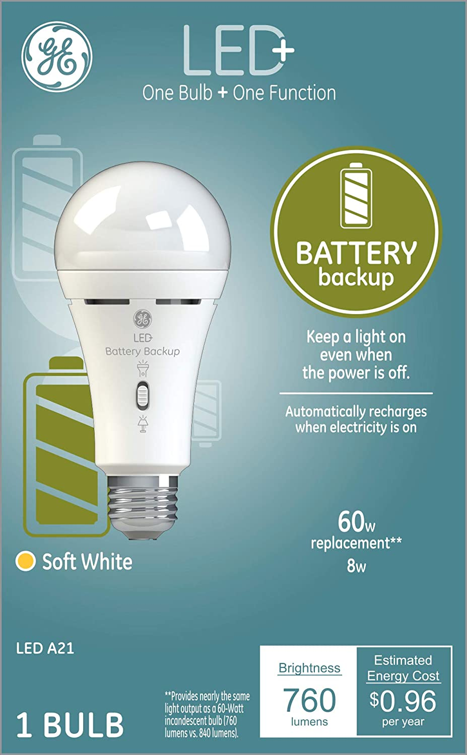 Ge Led Backup Battery Light Bulb A21 Emergency Light Bulb 60 Watt Replacement Soft White Rechargeable Light Bulbs For Power Outages Amazon Com