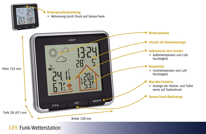con Radio Stazione meteorologica Digitale sensore Esterno Temperatura Esterna e Interna TFA Dostmann Nero retroilluminazione