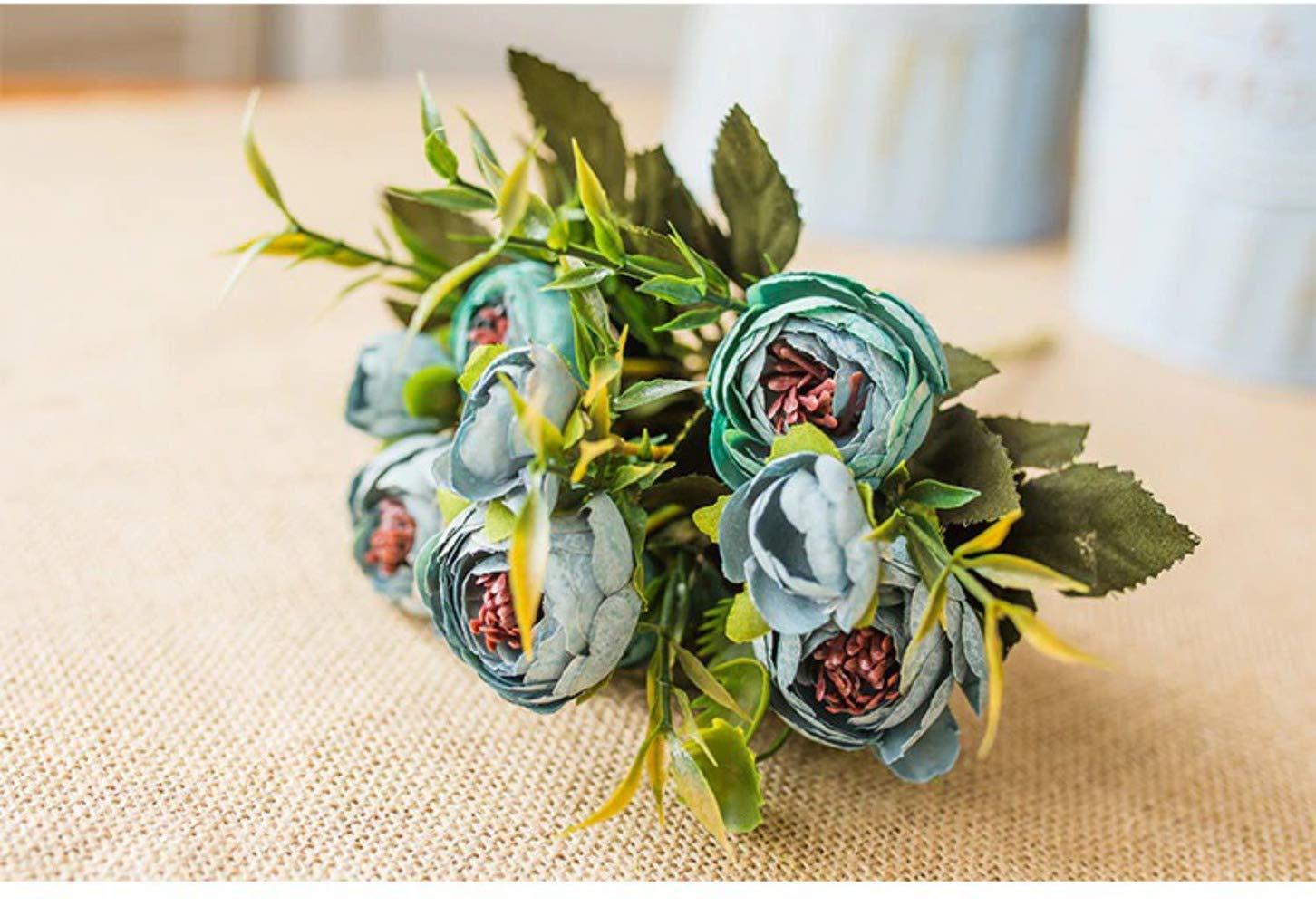 小さなファミリー ティーバッド ローズ 造花ブーケ ヨーロピアン ビンテージ シルクフラワー 秋 生き生きとした牡丹 フェイクリーフ ウェディング ホームパーティー デコレーション ブルー B07GR7Q9CM ブルー