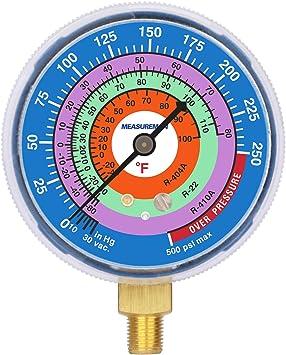 Measureman Refrigeration Pressure Gauge 1//8 NPT Lower Mount R-22 2-3//4 Dial Degree F R-410A R-404A Adjustable Pointer 30inHg-0-250psi Blue Dial 250-500psi Retarded Range