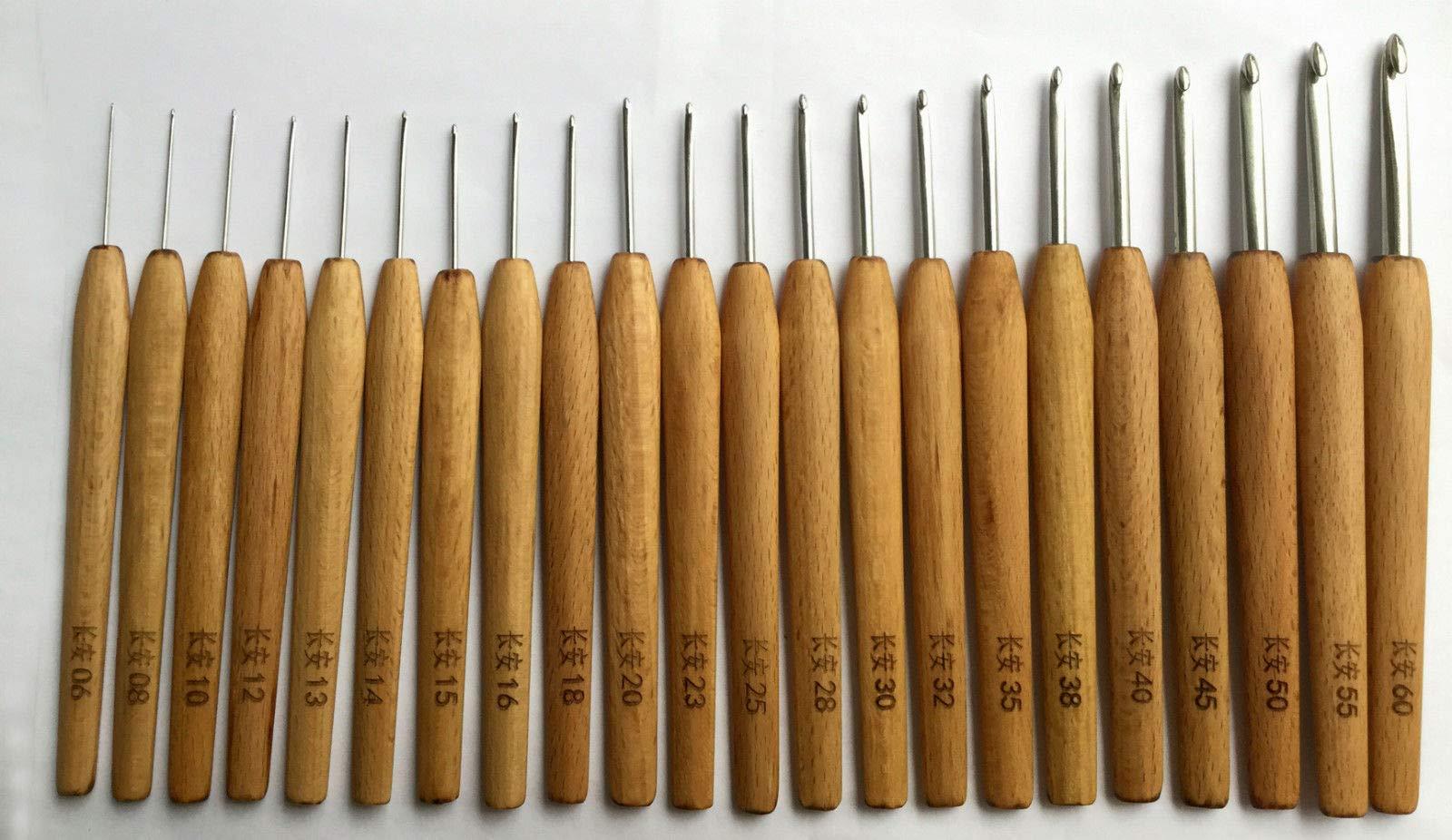 FidgetFidget Crochet Hooks Stainless Steel Wood Handle Redwood Knitting Needles Tool Kit 上海钩针 22 pcs Set by FidgetFidget (Image #2)