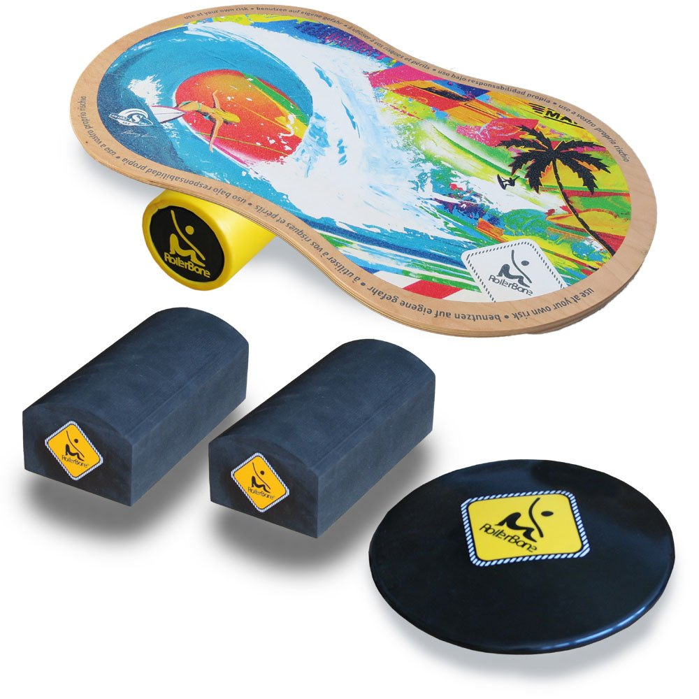 RollerBone Shabby 1.0 Classic Balance Board Set + Balance Trainer Kit