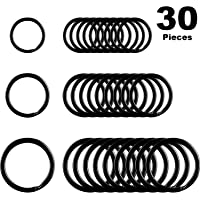 Round Flat Key Chain Rings Metal Split Ring for Home Car Keys Organization, 30 Pieces (Black, 3/4 Inch, 1 Inch and 1.25 Inch)