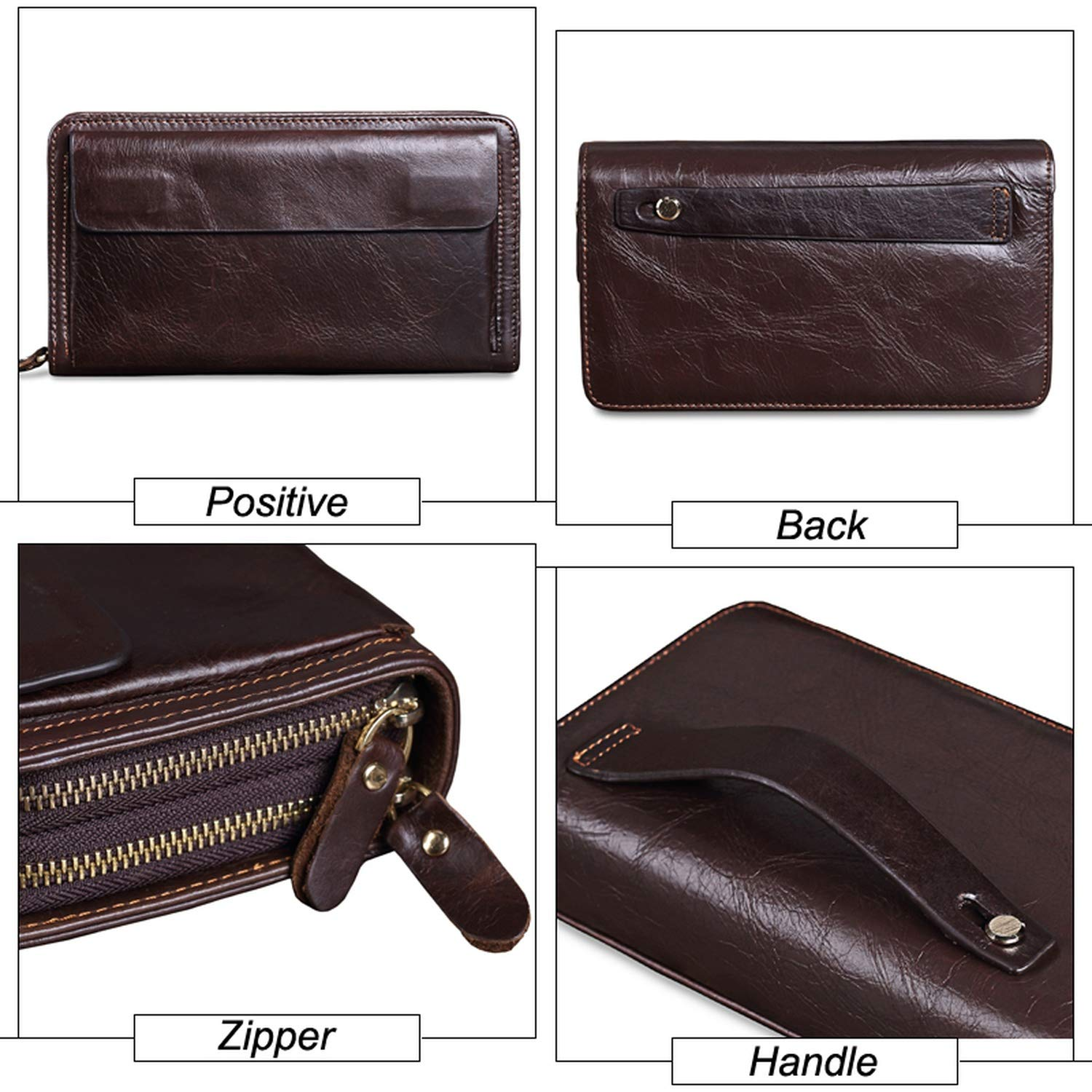 Cowhide Men Clutch Wallets Genuine Leather Long Purses Business Large Capacity Wallet Double Zipper Phone Bag For Male