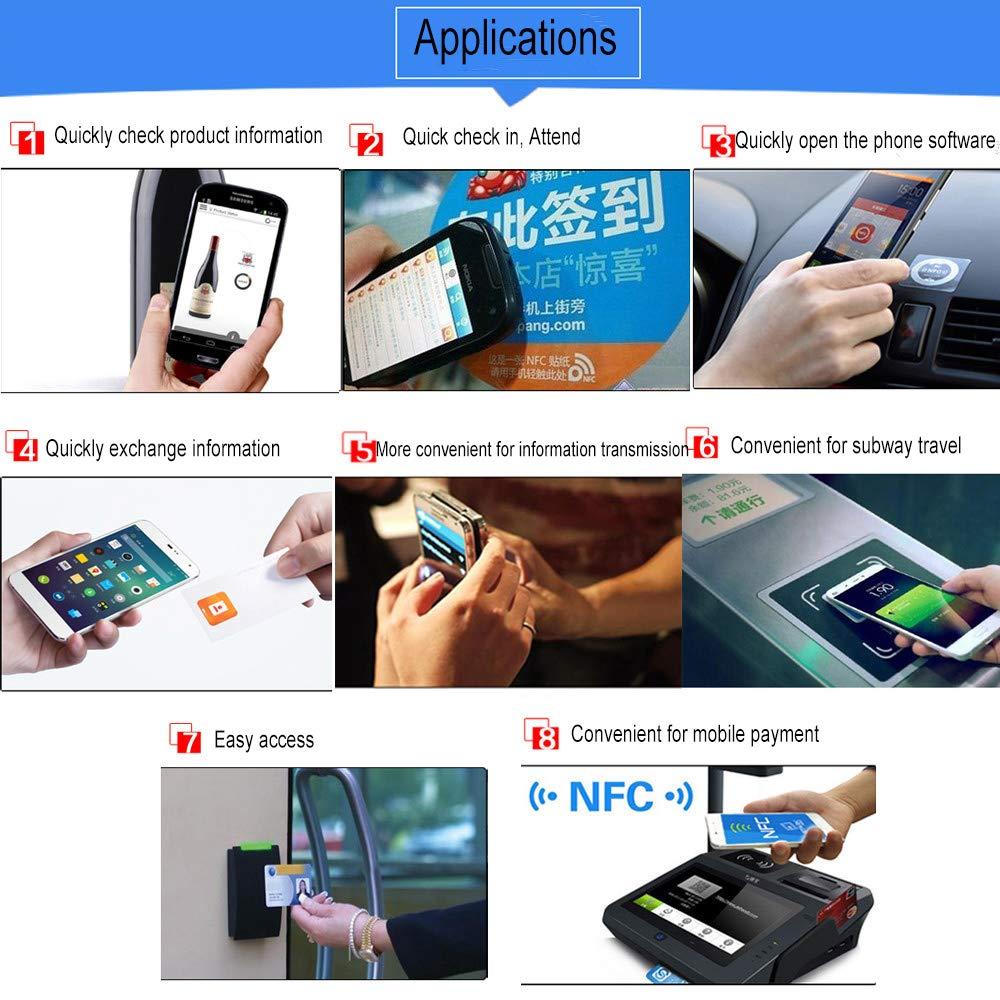 50 OBO HANDS /Étiquette NFC Enti/èrement Compatible /Étiquette RFID NTAG 216 NFC Haute Capacit/é Pour Tous les T/él/éphones NFC