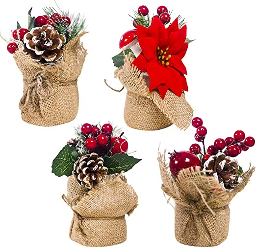 Amazon Com Happyyami 4pcs Christmas Potted Plants Pine Cone