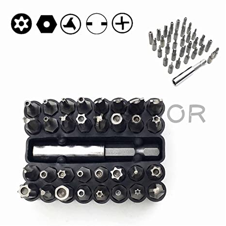 Amazon.com: SMT MOTO- Tamper Proof 33Pc Security Bit Set Phillips ...