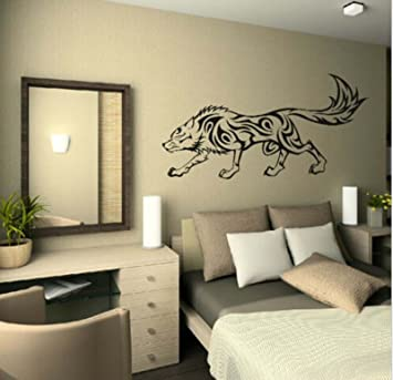 Animal Tribal Wolf Wall Stickers Baby Living Room Decorative Decal Vinyl  Black Color Part 98
