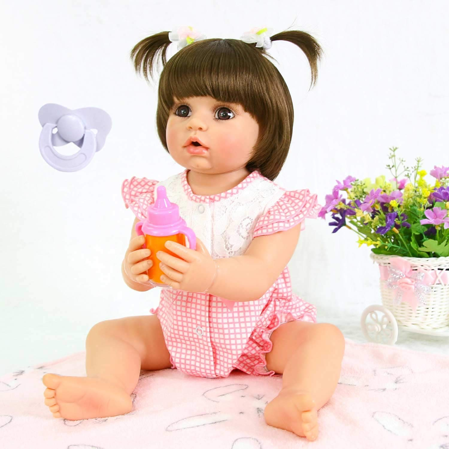 Pursuebaby doll washable full body reborn toddler girl doll opened mouth abby 22 inch adorable real life baby dolls with plugin pacifier toy gift set pink