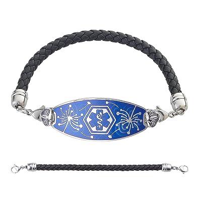 divoti Custom grabado pulsera de Alerta Médica de diente Piadosa - negro cuero trenzado, cadena - TP Azul: Amazon.es: Joyería