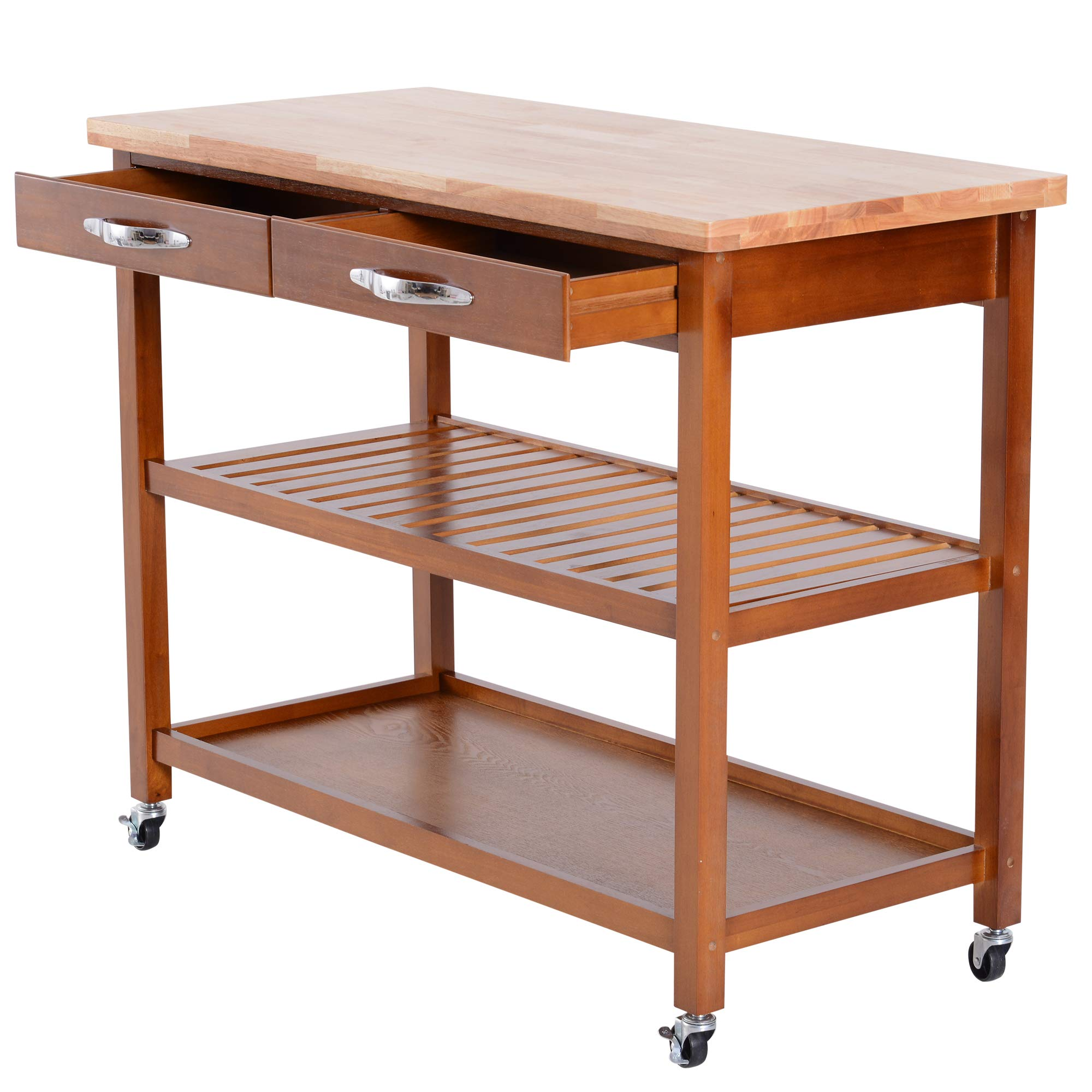 HOMCOM 44'' 3-Tier Rubberwood Kitchen Island Cart on Wheels - Brown by HOMCOM (Image #5)