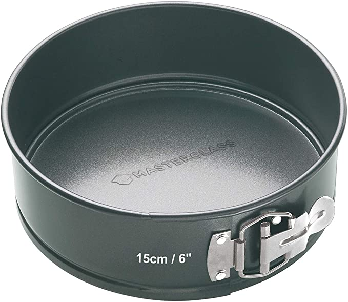 Kitchen Craft Master Class - Molde Redondo Desmontable, Acero, Negro, diametro de 15 cm
