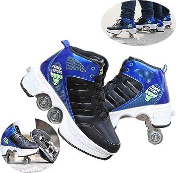 LYGID 4 Rueda Zapatos Ruedas Patines Unisex Principiantes Calzado De Skateboarding Deportes De Exterior Running Zapatillas Ajustable: Amazon.es: Deportes y aire libre