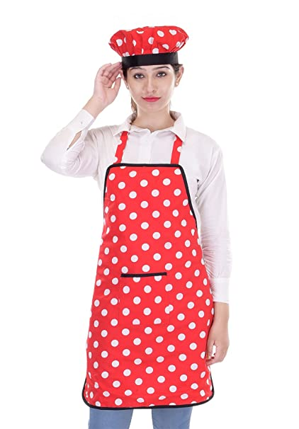 Switchon Waterproof Cotton Kitchen Apron, Red and White