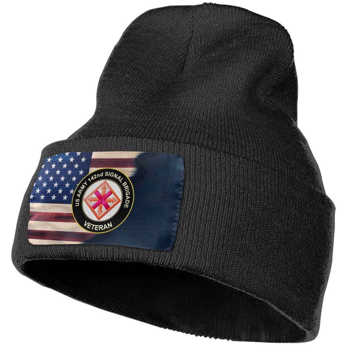US Army 142nd Signal Brigade Veteran Mens Beanie Cap Skull Cap Winter Warm Knitting Hats.