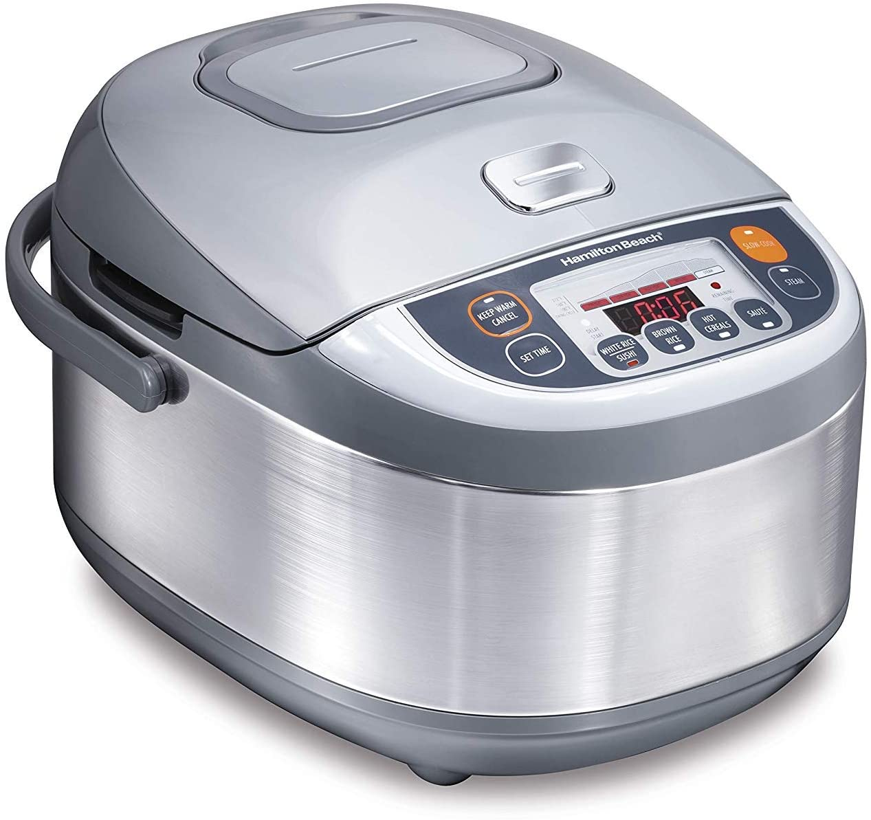Hamilton Beach Advanced Multi-Function, Fuzzy Logic Rice Cooker & Food Steamer, 16 Cups Cooked (8 Uncooked), Digital & Programmable, Stainless Steel (37570)
