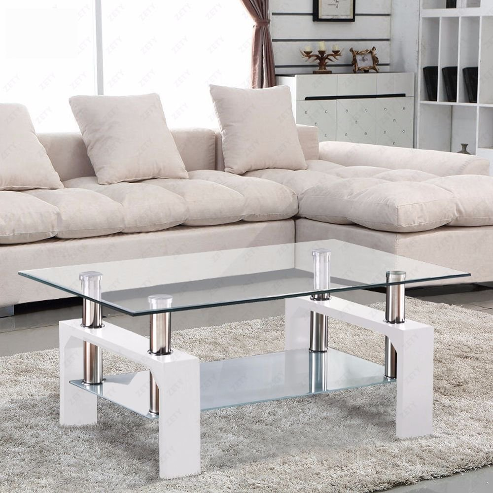 amazon com virrea rectangular glass coffee table shelf chrome