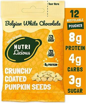 Nutrilicious Semillas de Calabaza de Chocolate Blanco - Keto, Ricas en Proteínas Bajos en Carbohidratos, Menos Azúcar, Ricas en Fibras, Sin ...