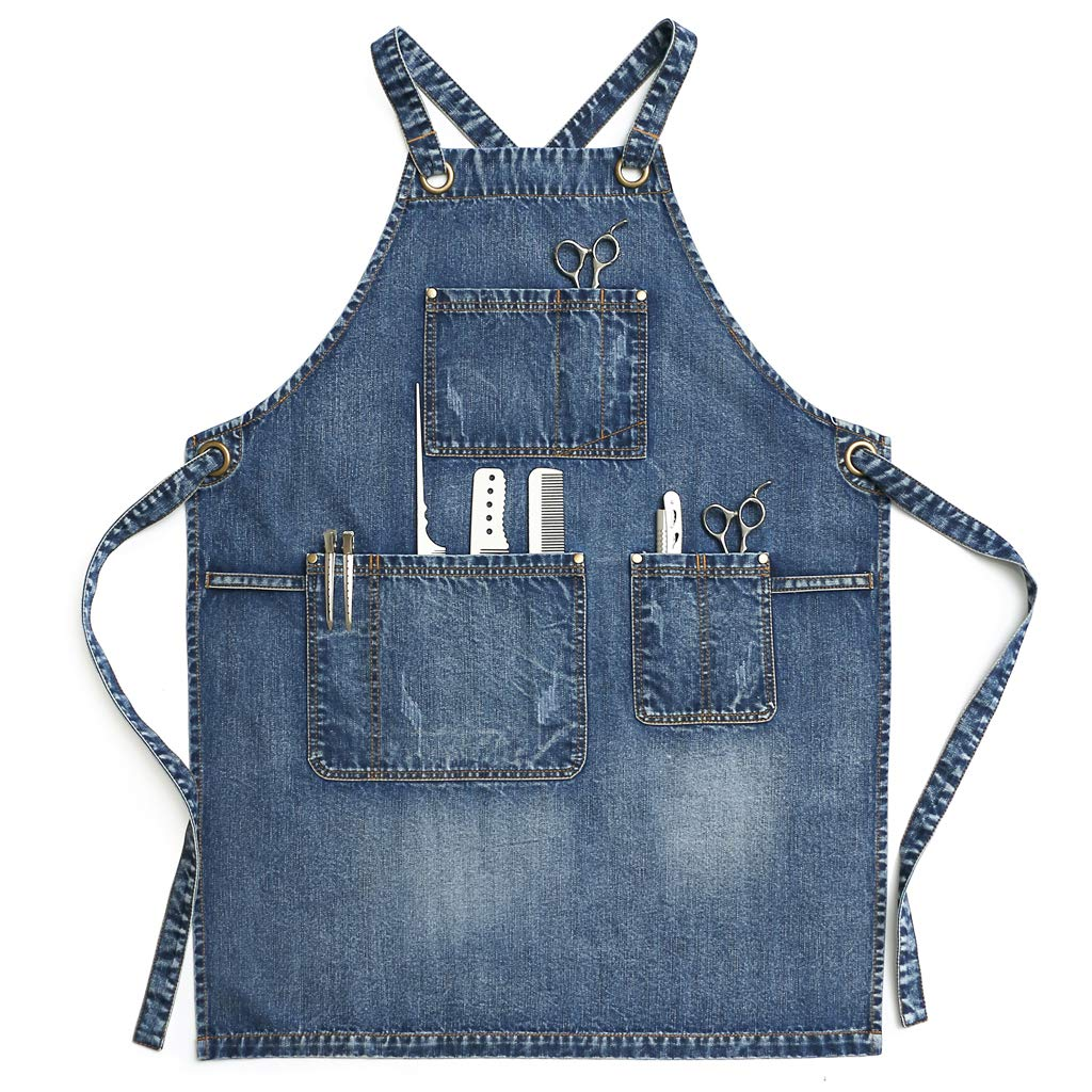 Jeanerlor - Jean Apron for Men,Denim Apron for Hair Stylist, Craftsmen, Barista, BBQ, with Towel Loop + Tool Pockets, Adjustable L to XXL