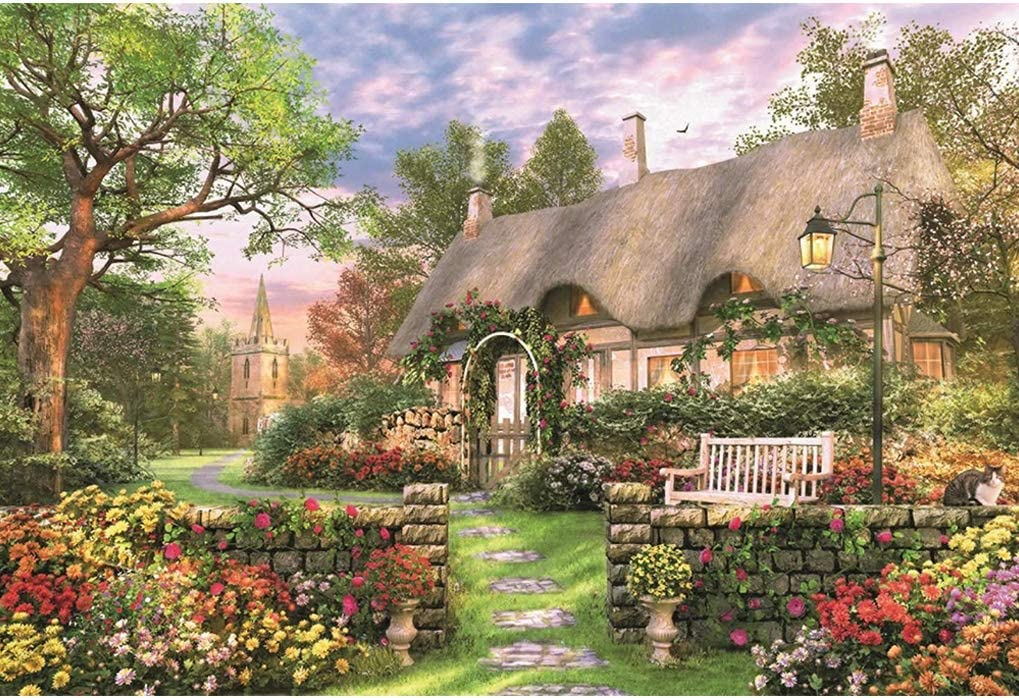 GuDoQi Puzzles for Adults 1000 Piece, Cottage Garden Jigsaw Puzzle for Adults, Vintage Paintings Landscape Puzzle, Large Puzzle Game Toys Gift