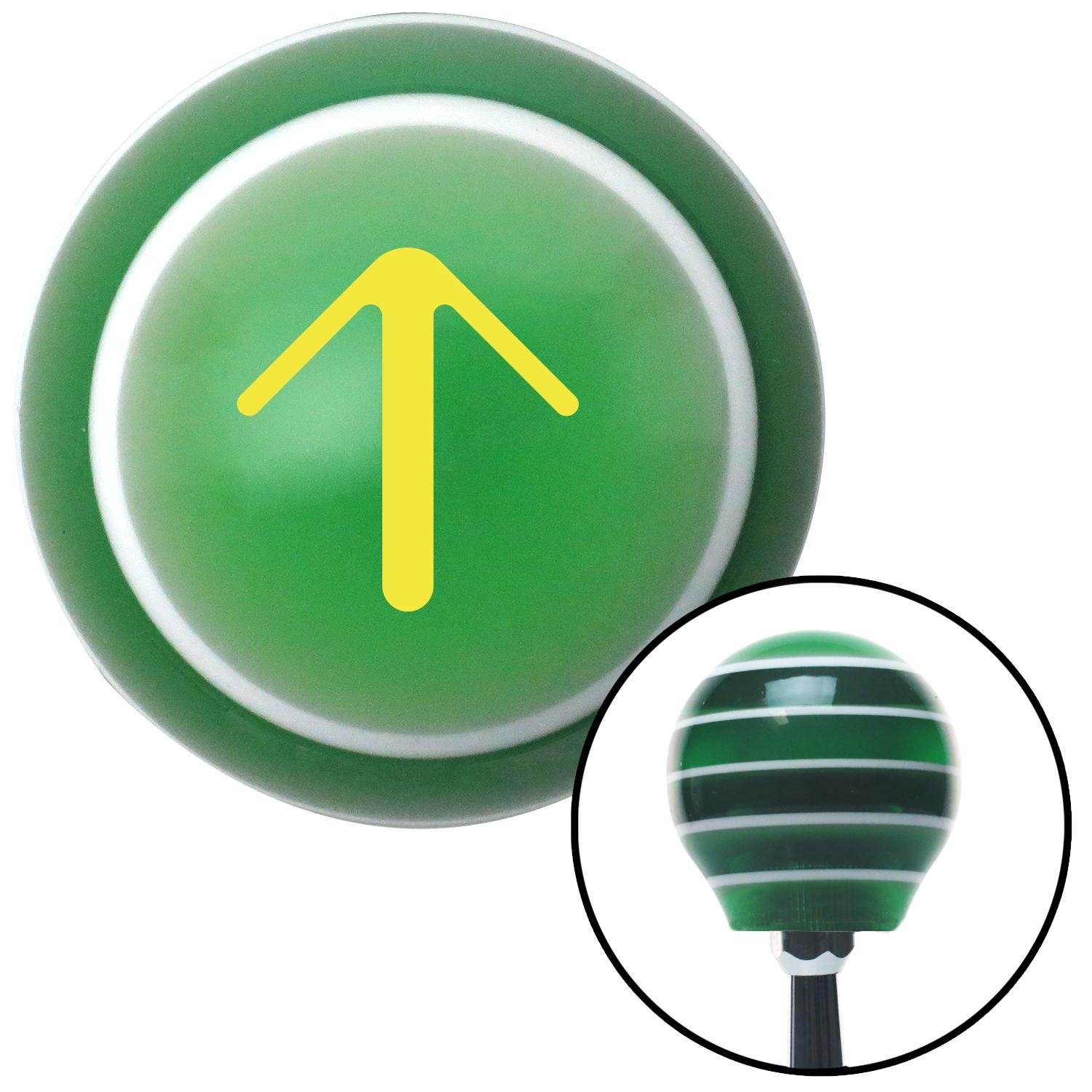 Yellow Solid Pointing Arrow Up American Shifter 121401 Green Stripe Shift Knob with M16 x 1.5 Insert