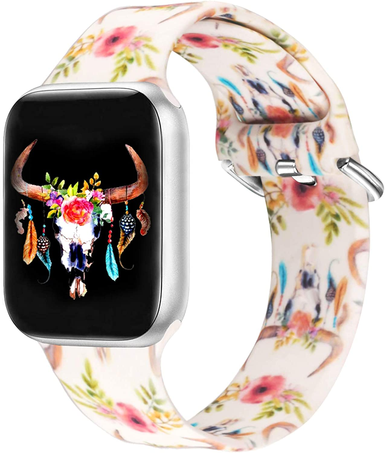 Idealiveny Sport Band Compatible with Apple Watch Band 38mm 40mm 42mm 44mm Women Silicone Replacement for Iwatch Series 5 4 3 2 1 Double Side Pattern Soft Wristband