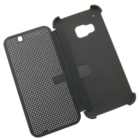 Für HTC One M9 2015 Dot Matrix View Book Premium Hülle Tasche Smart Case Grau