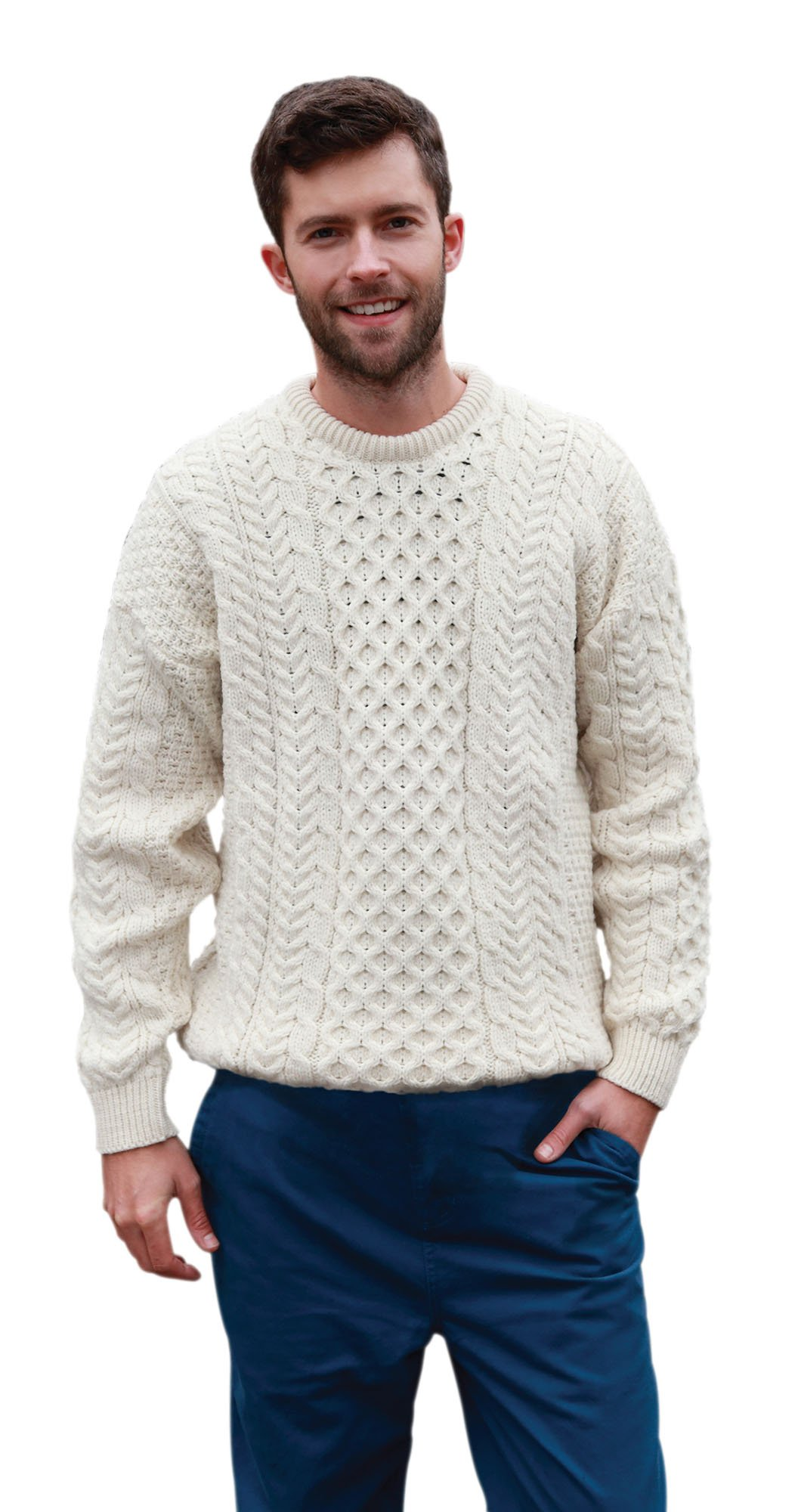 Traditional Irish Aran Merino Wool Sweater White Large - Fast delivery from Ireland