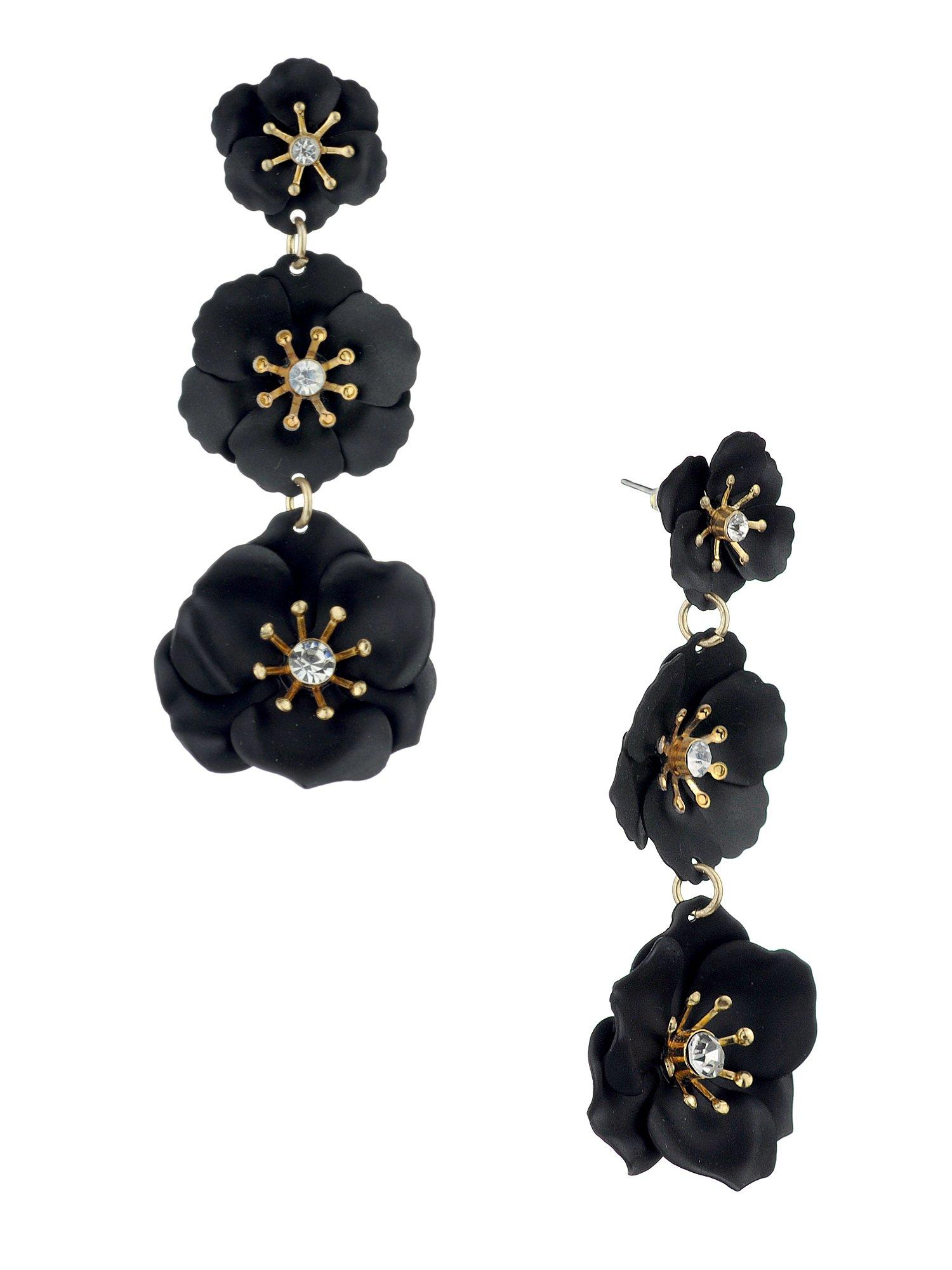 Women's Triple Metal Matte Flower Petal Pierced Dangle Earrings, Black