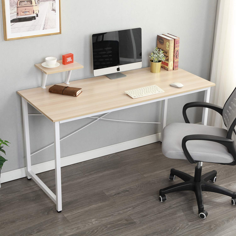 soges Computer Desk with Shelf 55.1'' Sturdy Office Meeting/Training Desk Writing Desk Workstation Desk Computer Table Gaming Desk, White Oak WK-JK140-MO