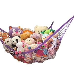 MiniOwls Storage Hammock Stuffed Toy Net Purple XL
